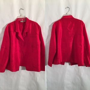 Chico's Red 100% Silk Loose Fit Jacket Size 3